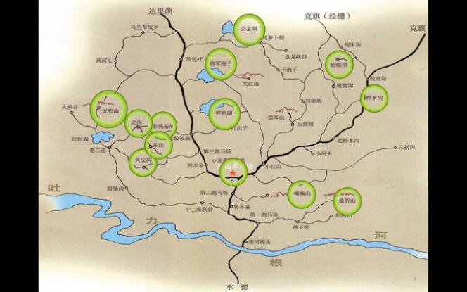 烏蘭布統景區分布圖
