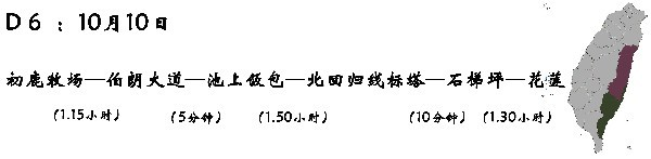D6 (10月10日):台东—初鹿牧场—(花东纵谷)—伯朗大道—池上饭包文化馆—北回归线标志塔—石梯坪—花莲—(晚饭:太监鸡)